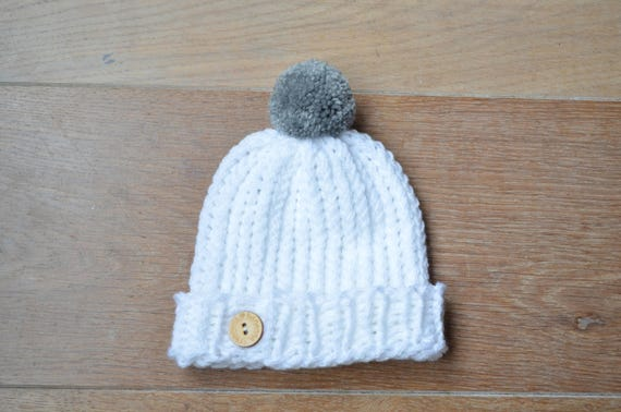 a09beb5a462 White baby hat Knit baby hat Knitted baby beanie Pompom