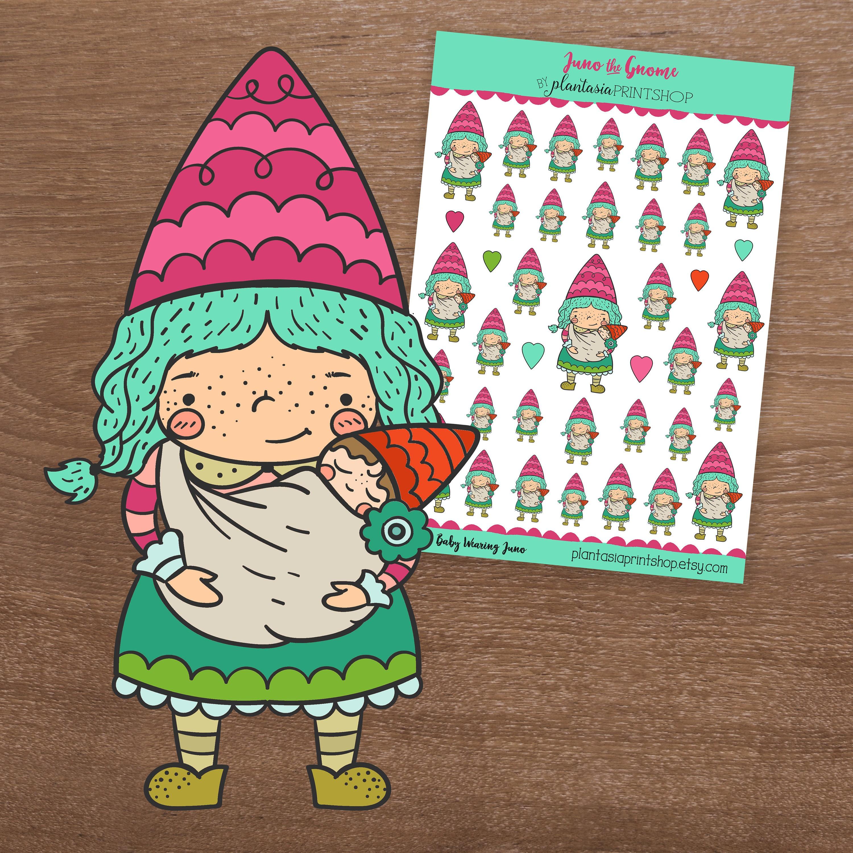 Baby Gnome: Baby Wearing Juno Juno The Gnome Gnome StickersMom