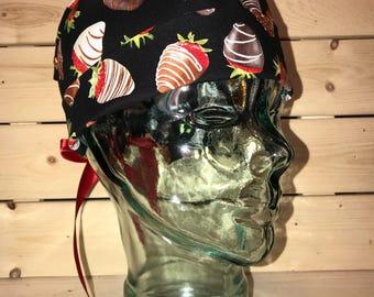 Chocolate Coated Strawberry Theme Scrub Hat