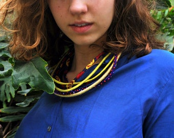 Gypsy, multi-stranded upcycled necklace, fabric necklace, handmade jewellery, reused materials