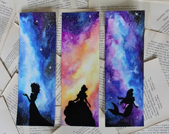 bc4ba43878e8c3 Hand Painted Disney Princess Watercolour Galaxy Bookmark
