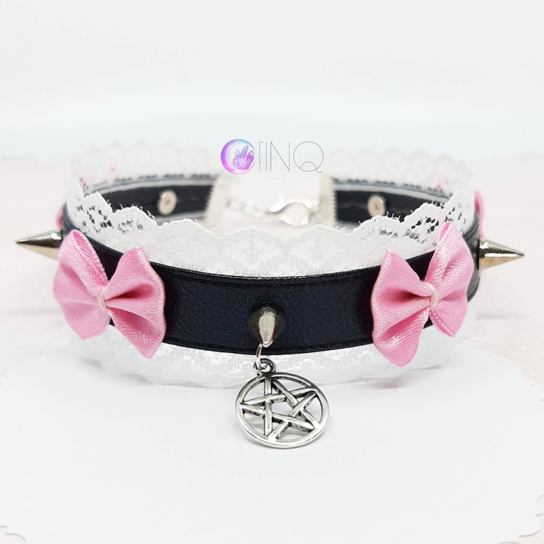 White Lace Pentagram Choker with pink bows and spikes Pastel Goth Lace Kawaii Choker