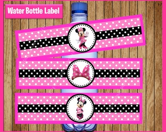image relating to Free Printable Minnie Mouse Water Bottle Labels identified as Minnie mouse labels Etsy