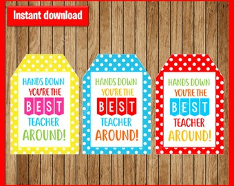 graphic relating to Hands Down You Re the Best Teacher Around Free Printable referred to as Easiest palms down Etsy
