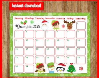 calendar december 2018 cute christmas planner printable planner christmas december 2018 planner christmas calendar instant download