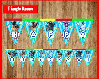 Puppy Dog Pals Triangle Banner instant download, Printable Puppy Dog Pals party Banner, Puppy Dog Pals Banner