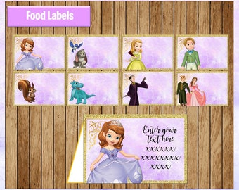 Sofia the First Food labels, Printable Princess Sofia Food tent cards, Sofia party Food labels, personalized, Editable