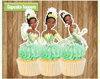 Princess TIANA Cupcake Toppers, Princess and the Frog Cupcake Toppers, Printable Party Favors, PRINTABLE Instant Download