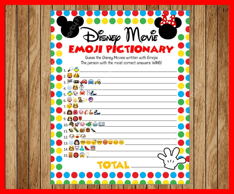 Disney Movie EMOJI Pictionary Childrens Birthday Party Game Mickey Themed ANSWERS Included Instant Download
