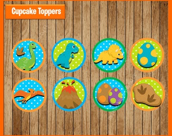 Dinosaurs Toppers instant download, Printable Dinosaur party cupcakes Topper, Dinosaurs cupcakes toppers