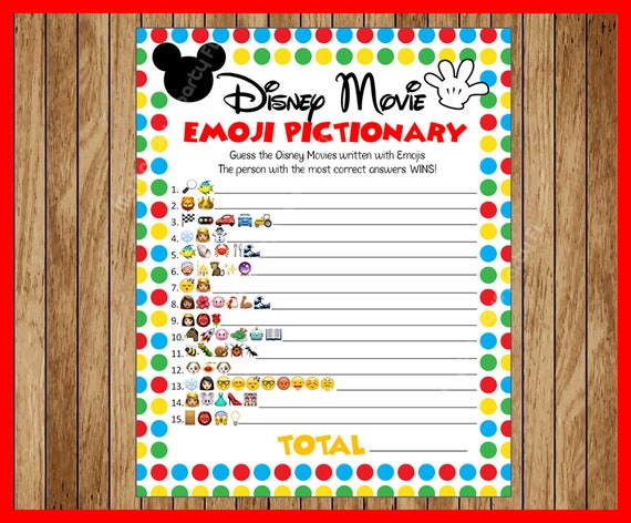 Disney Movie EMOJI Pictionary Childrens Birthday Party
