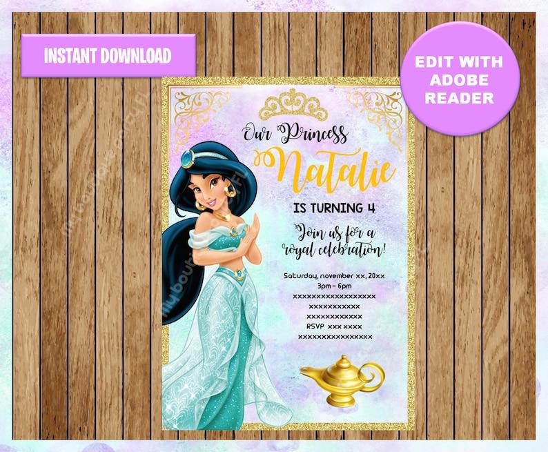 Princess Jasmine Party Invitation Aladdin Printable Customizable Template Editable PDF File You Fill And Print