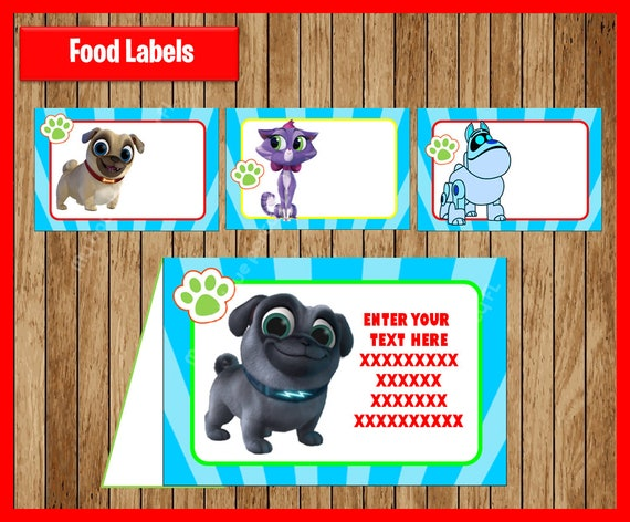 Puppy Dog Pals Food Tent Cards Instant Download Printable Etsy