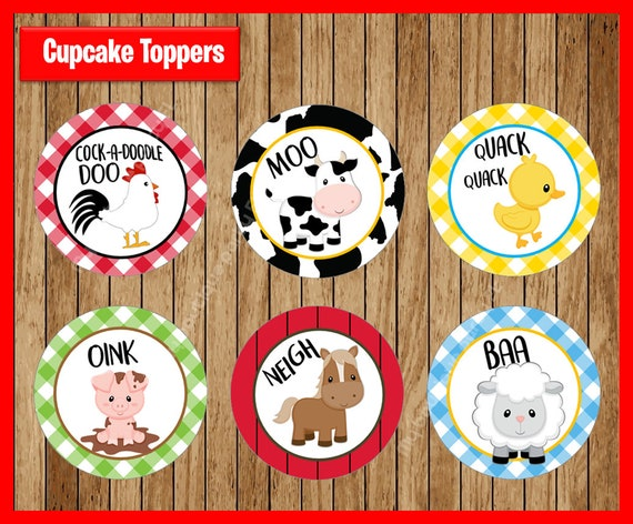 Farm Cupcake Toppers Farm Animal Cupcake Toppers Barn ...