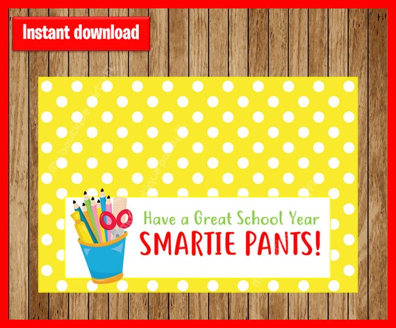 picture regarding Smartie Pants Printable referred to as Back again in the direction of Higher education Take care of Bag Tags, Smartie Trousers! Printable PDF, Quick Down load