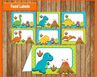 Dinosaurs Food Tent Cards instant download, Printable Dinosaur party Food labels, Dinosaurs Food table labels