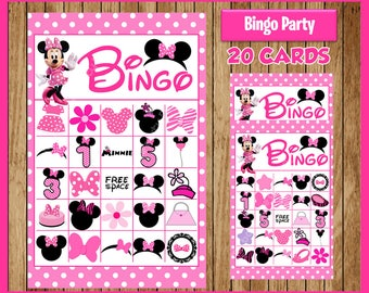 Minnie Mouse 20 Cards instant download, Printable Minnie Mouse Bingo Game, Minnie Mouse Printable Bingo