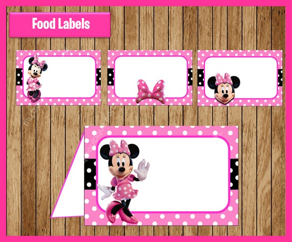 Pink Minnie Mouse Food Tent Cards Instant Download Printable