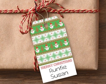 Present Favor Labels Green Christmas Gift Tags