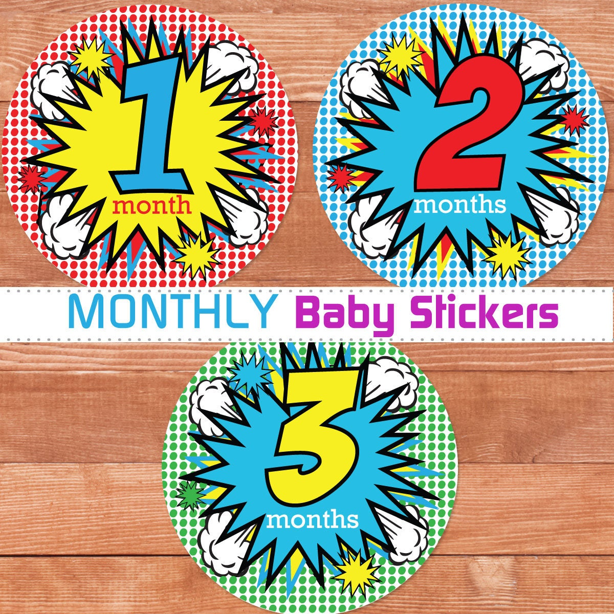 Monthly Baby Boy Stickers Superhero Baby Month Stickers Boy Etsy