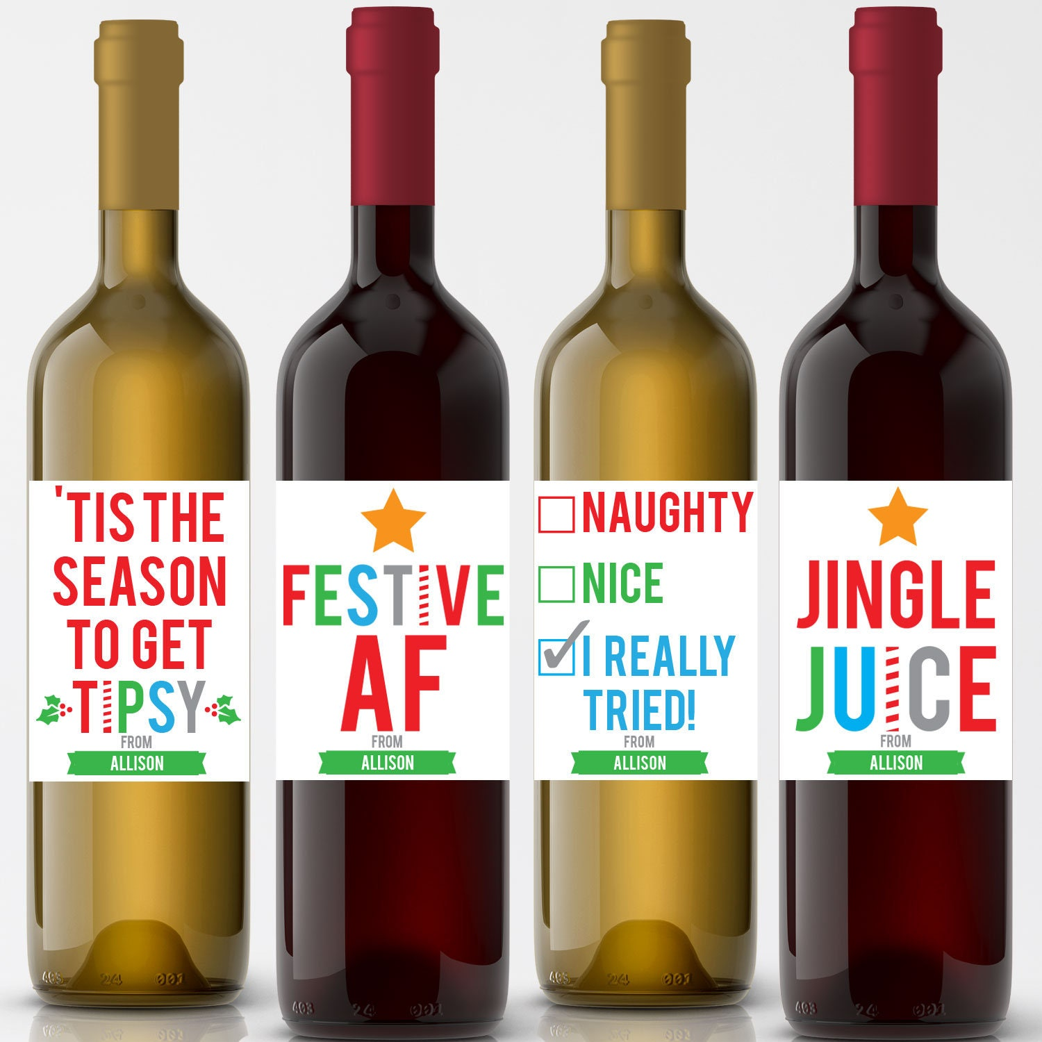 Funny Wine Labels Christmas Wine Labels Holiday Wine Label