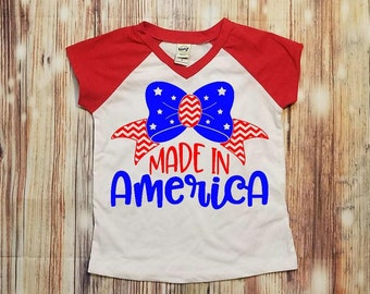 July 4th Shirt, July 4th Shirt Kids, Girls July 4th Outfit, Made in America Shirt, Patriotic Shirt, Girls Patriotic, Kids Patriotic, Girls