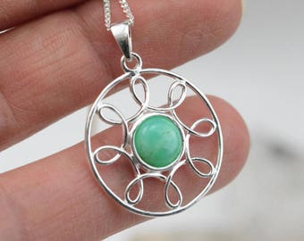 Chrysoprase - 925 sterling silver pendant and necklace
