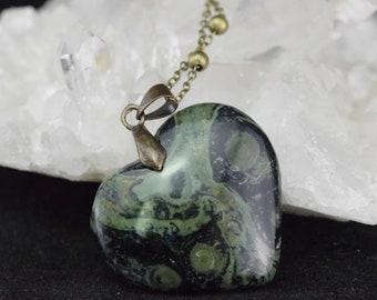 Kambaba Jasper - brass heart pendant and necklace