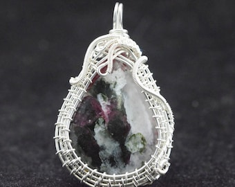 Eudialyte Wire silver plated copper wire Wrap pendant