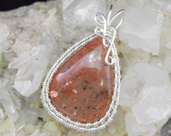 Sunstone Wire silver plated copper wire Wrap pendant