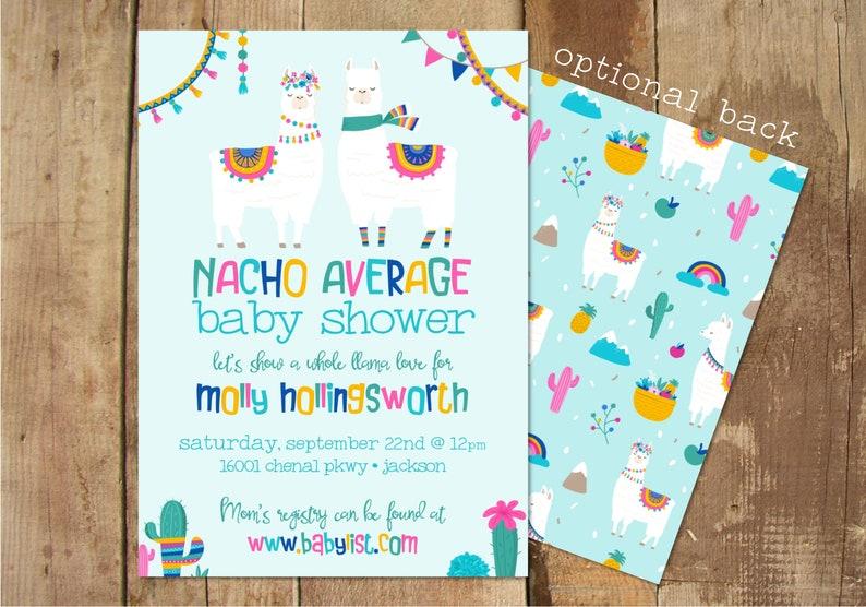 Llama Baby Shower Invitation Nacho Average Baby Shower Etsy