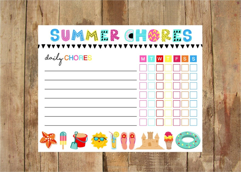 image regarding Summer Chore Chart Printable known as Summertime Chore Chart Printable - Fast Electronic down load - Weekly Chore Chart - Summertime - Small children Video game - Summer season Towards Do Listing