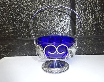with an ONEIDA SILVER silverplate Alouette spoon Cobalt Blue Glass SugarDip Bowl in a metal Ornate Chrome StandCarrier Vintage 1970/'s