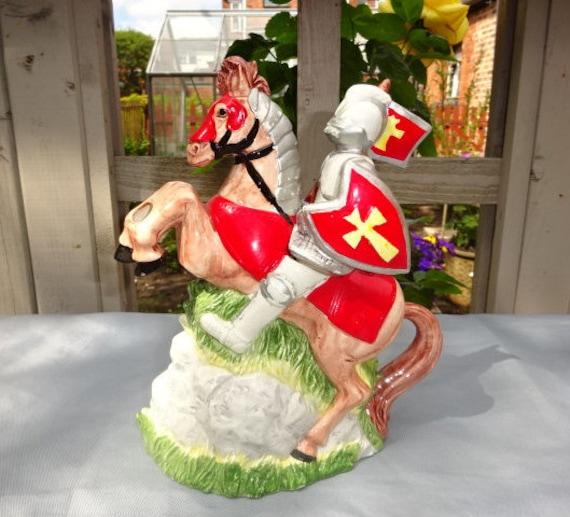 Leonardo  Knight on Horseback  Horse  Teapot  Novelty  Handpainted  Decorative  Display  Ornament  Decor  Collectible  Vintage