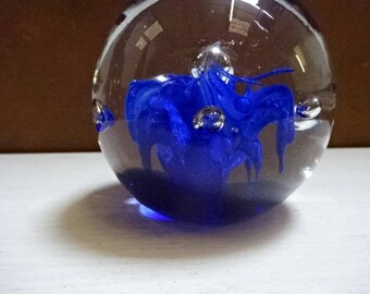 Striking Blue Art Glass with Controlled Bubbles Paperweight/Vintage