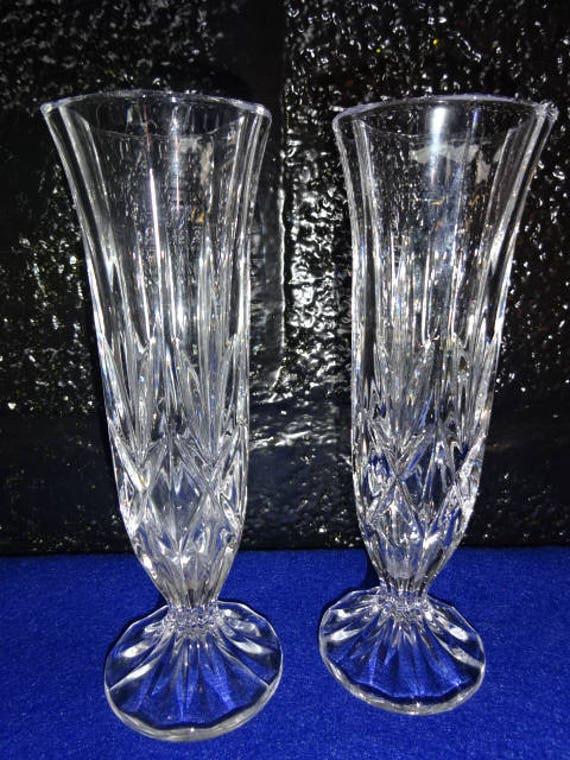 Pair Of Cut Glass Bud Vasesbud Vaseglass Bud Vaseglass Etsy