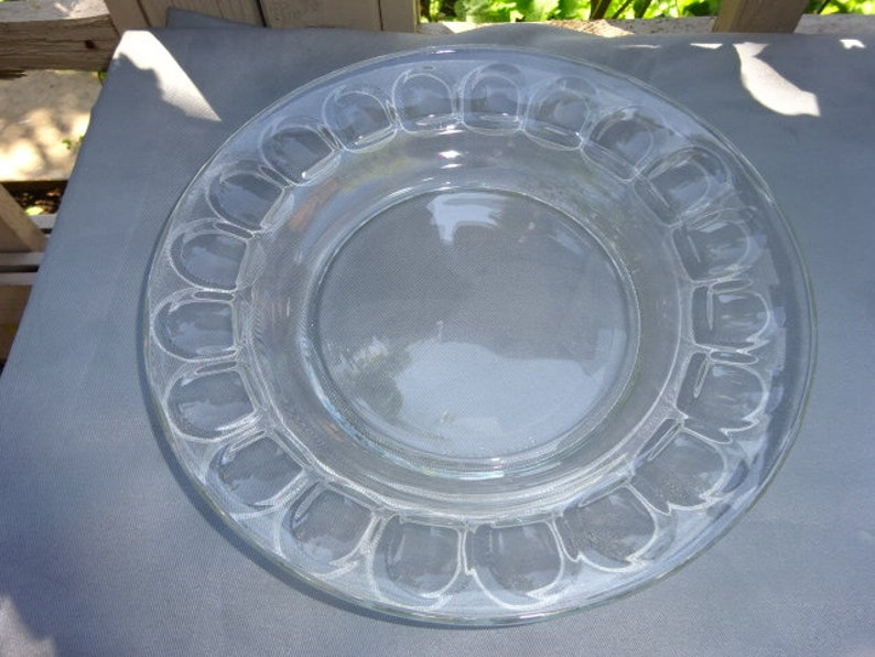 Arcoroc / France / Clear / Glass / Dimple / Thumbprint / Plates / Dinner  Plates / Deep Plate / Set of 6 / Arcoroc Plates / Vintage / 1970s