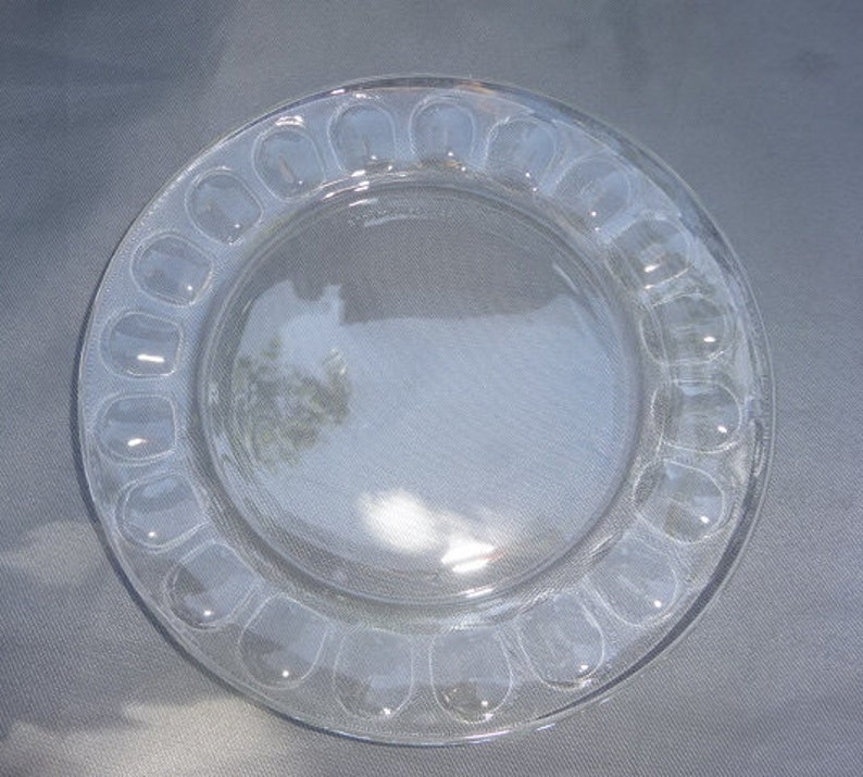 Arcoroc / France / Clear / Glass / Dimple / Thumbprint / Tea Plates /  Plates / Set of 6 / Arcoroc Plates / Tempered Glass / Vintage / 1970s