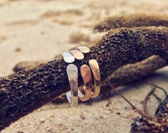 Hammered Open Ring Handmade Adjustable