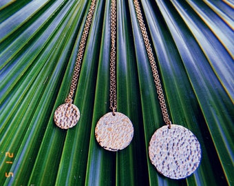 Sol Necklace - Hammered Disc