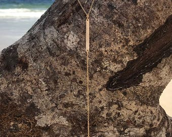 Hammered Drop Necklace Lariat Y Chain