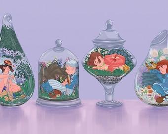"Flowers of Ghibli - Terrarium Print (11"" x 17"")"