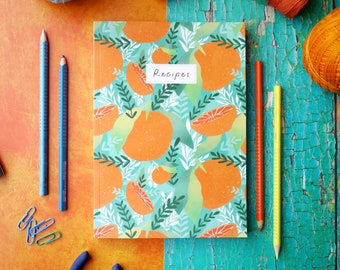 Tropicana A5 Recipe Notebook, Eco Recycled Recipe Jotter, Eco Tropical Oranges Foodie Stationery Gift