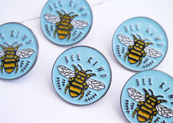 Bee Kind Enamel Pin | Eco Friendly Bee Lovers Kindness Pin | Self Care Birthday Accessory Gift