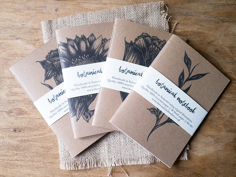 Handmade A6 Botanical Blank Recycled Notebook  Eco Friendly image 0