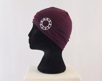 Plum purple chemo hat with buckle headband, chemo headwear, headwrap lined, chemo cap