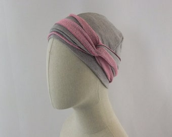 Heather grey and pink chemo cap, chemo hat , chemo headwear, headwrap, unlined, size small