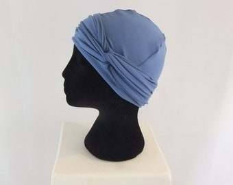 Blue chemo hat, lined chemo cap, chemo headwear, cancer hat