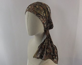 Paisley copper glitter sequins pre tied chemo head scarf, bandana, head scarf, cap, chemo hat, headwear, slip on headwrap
