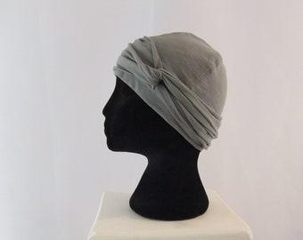 Grey chemo cap, chemo hat, chemo headwear, headwrap lined, 100 % cotton, owl grey